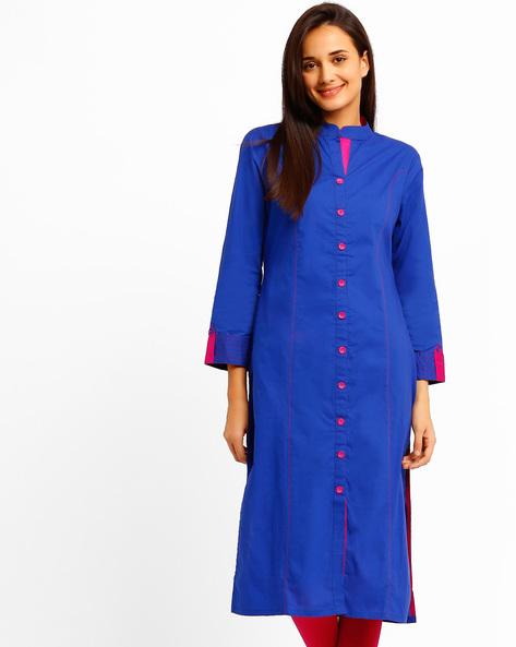 Kurta With Mandarin Collar By Tulsattva ( Blue )