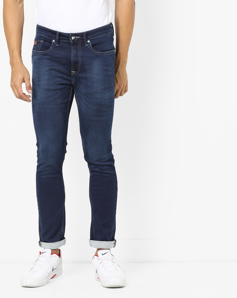 Mid-Wash Mid-Rise Jeans By ED HARDY ( Blue )
