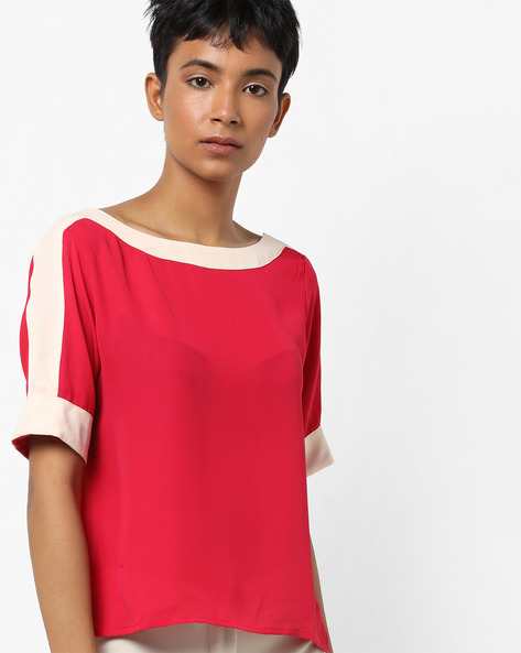 Boat-Neck Top With Contrast Panel By AJIO ( Red )