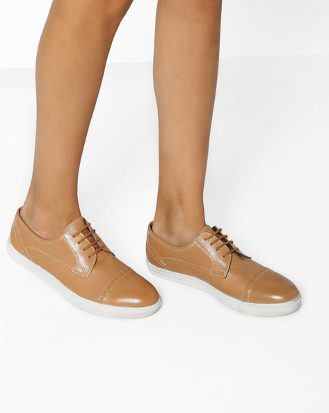 Genuine Leather Casual Oxfords By Hats Off Accessories ( Tan )