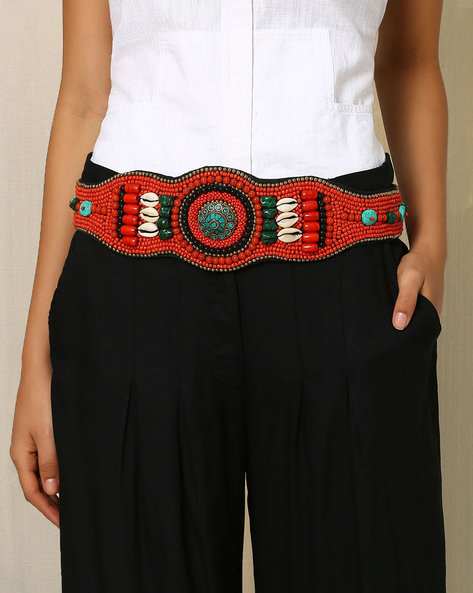 Handcrafted Beaded Belt By Indie Picks ( Peach )