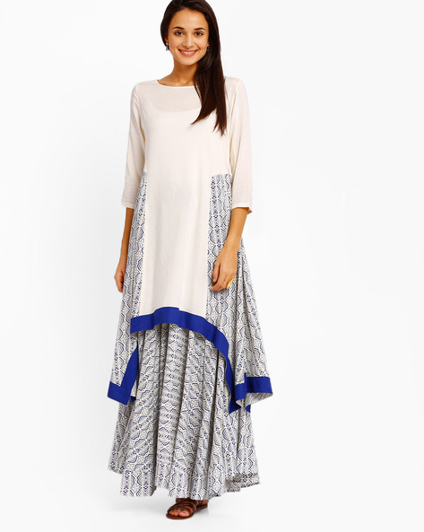 A-line Kurta With Handkerchief Hem By AJIO ( White )