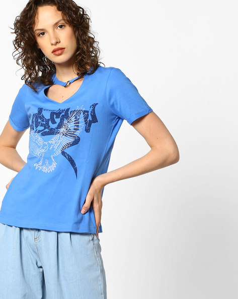 Graphic Print T-shirt With Metal Ring By AJIO ( Blue )