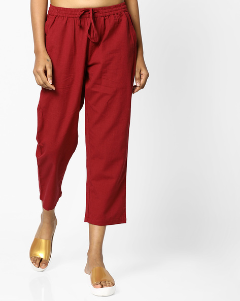 Cropped Pants With Drawstring Fastening By PE IW Casual ( Maroon )