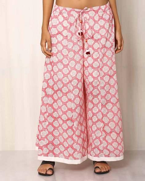 Handblock Print Cotton Palazzo Pants By Pink Lemon ( Lightpink )