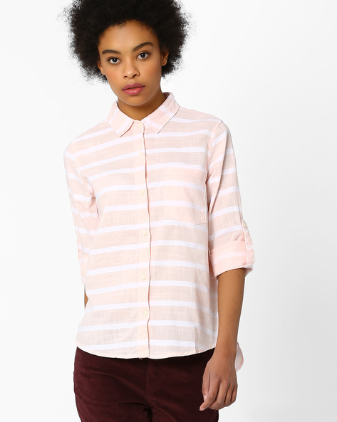 Striped Shirt With High-Low Hem By FIG ( Ltpeach )