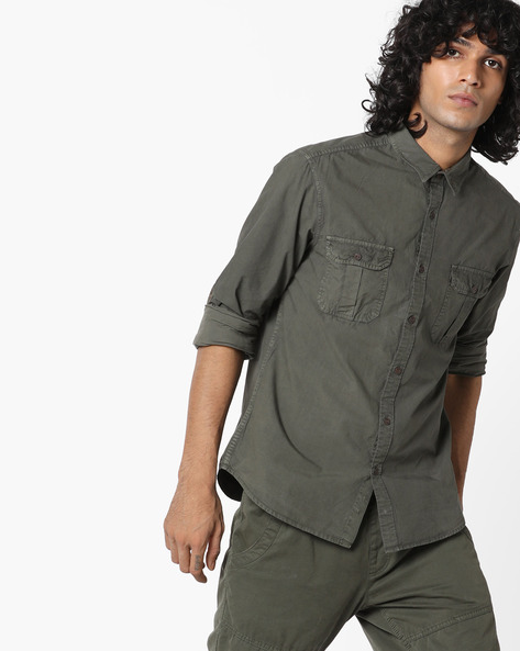 Classic Shirt With Flap Pockets By AJIO ( Olive )