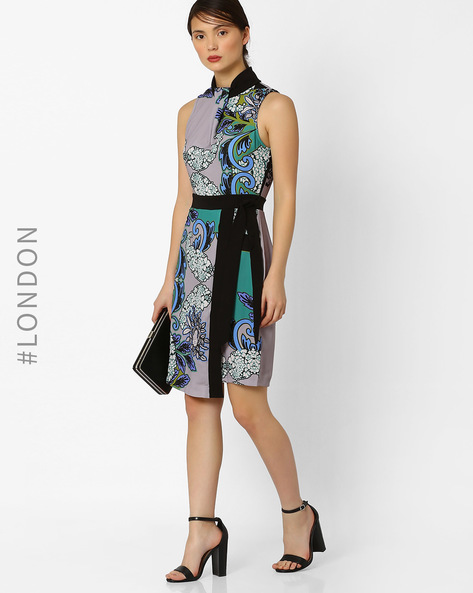 Printed Wrap Dress With Contrast Waistband By Closet London ( Multi )
