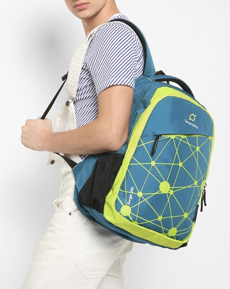 Graphic Print Backpack With Mesh Pockets By Murano ( Blue )