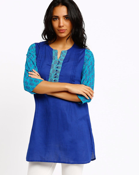 Kurti With Contrast Sleeves By AVAASA MIX N' MATCH ( Turquoise )