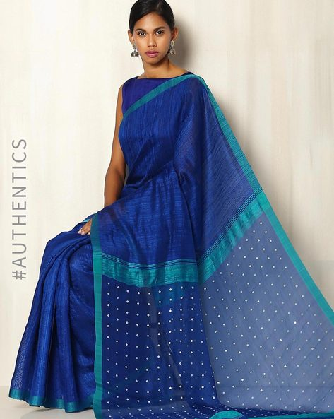 Handwoven Bengal Pure Silk Matka Saree With Embellishments By Indie Picks ( Blue )