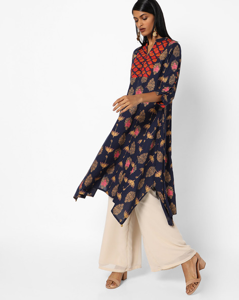 Printed Kurta With Asymmetrical Hem By AJIO ( Navy )