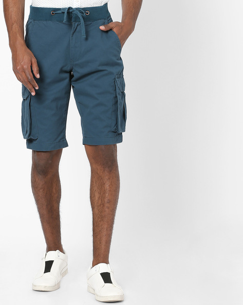 Cargo Shorts With Drawstring Waist By DNMX ( Blue )
