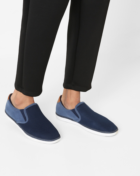 Perforated Slip-ons With Elasticated Gussets By AJIO ( Navy )
