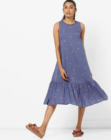 Printed A-line Dress With Pleated Hemline By AJIO ( Blue )