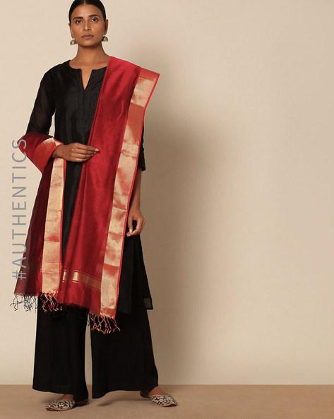 Handloom Pure Cotton Silk Maheshwari Dupatta By Indie Picks ( Maroon )