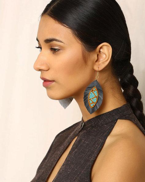 Beaded Dangler Earrings By Indie Picks ( Grey )
