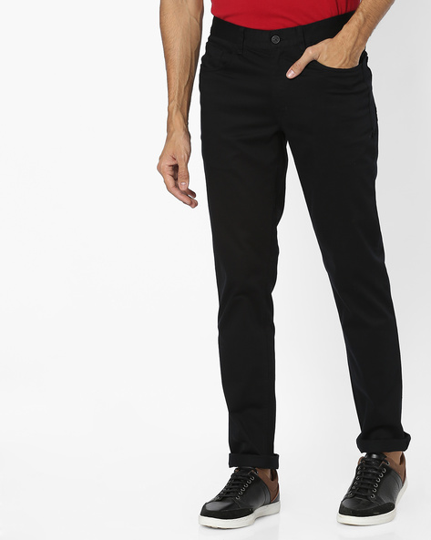 Slim Fit Flat-Front Trousers By JOHN PLAYERS ( Black ) - 460040834001