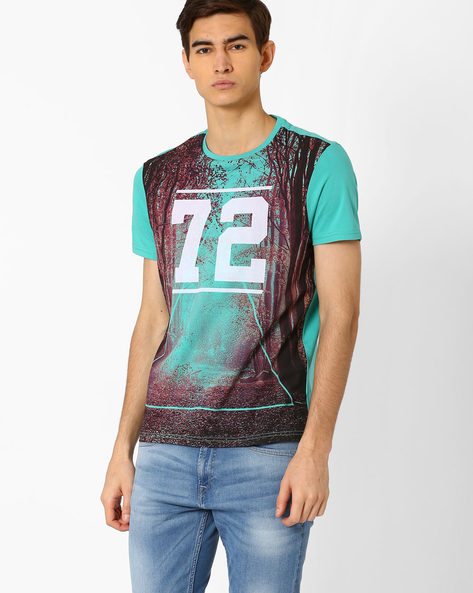 Crew-Neck T-shirt With Landscape Print By AJIO ( Green )