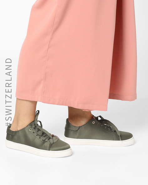 Low-Top Lace-Up Sneakers By TALLY WEiJL ( Green )