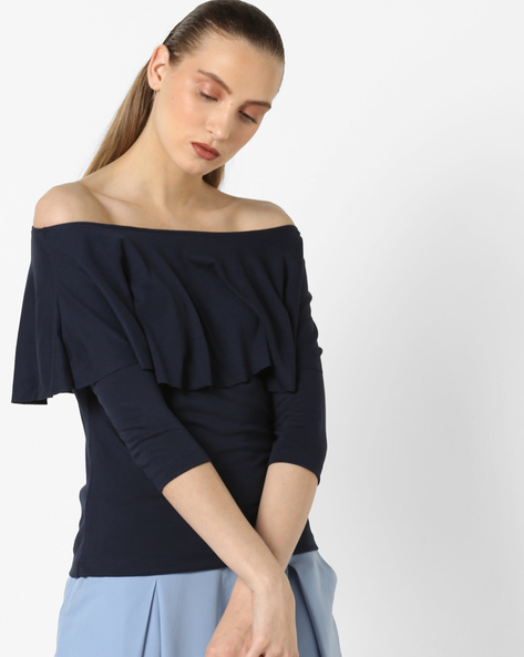 Off-Shoulder Top With Ruffled Detail By CODE By Lifestyle ( Navy )