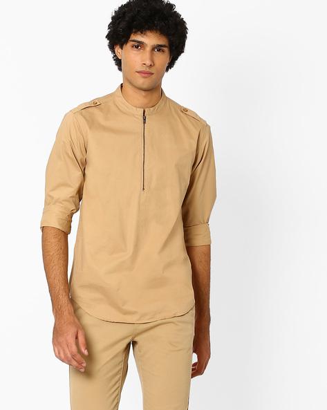 Mandarin Collar Shirt With Shoulder Tabs By AJIO ( Khaki )