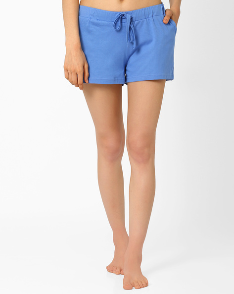 Lounge Shorts With Drawstring Waist By AJIO ( Blue )