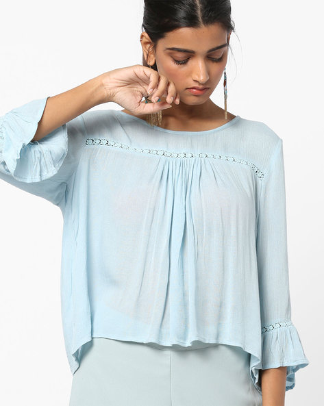 Peasant Top With Back Button Placket By AJIO ( Blue )