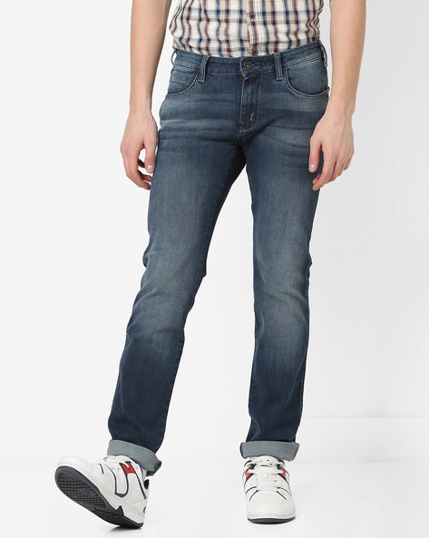 Skanders Slim Fit Jeans With Whiskers By WRANGLER ( Blue ) - 460177427001