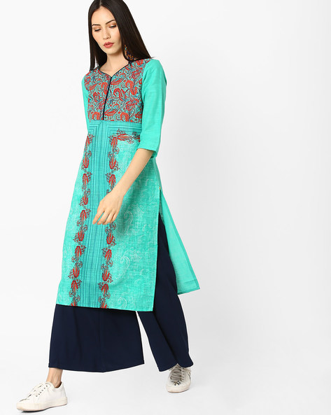 Floral Print Straight Kurta By AURELIA ( Green )