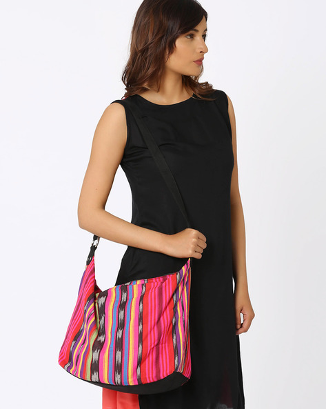 Striped Cotton Woven Shoulder Bag By Noorani Biswas ( Multi )