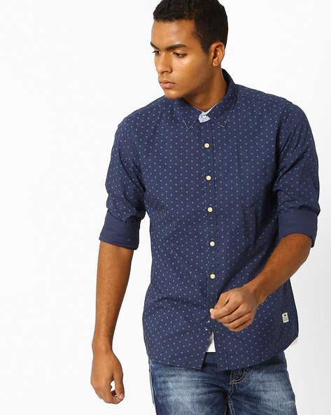 Printed Cotton Shirt By FLYING MACHINE ( Navy )