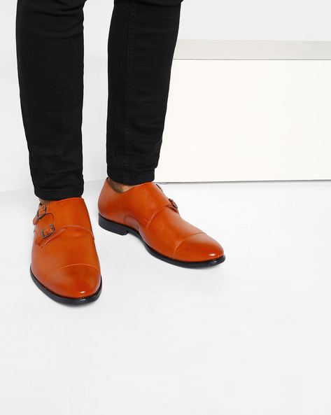 Handcrafted Monk Shoes By Modello Domani ( Tan )
