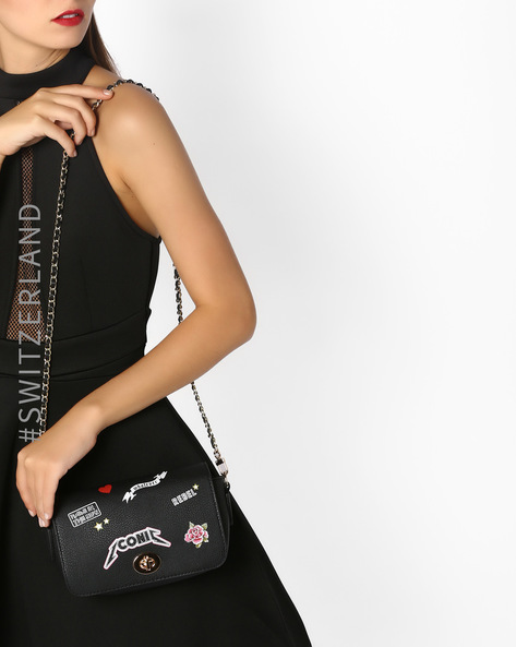 Sling Bag With Badge Print By TALLY WEiJL ( Black )