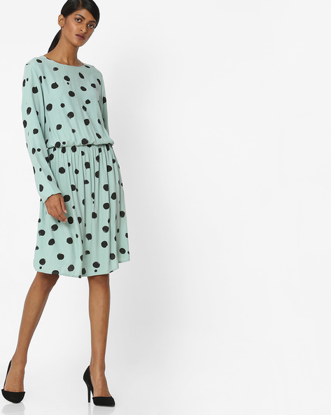 All-Over Print Blouson Dress By Vero Moda ( Aqua )