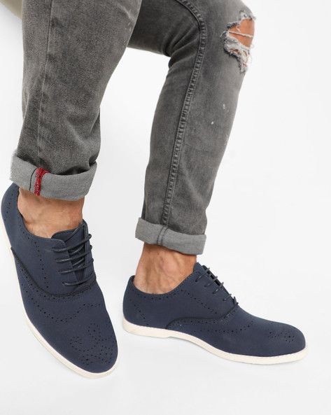 Casual Shoes With Lace-Ups By AJIO ( Blue )