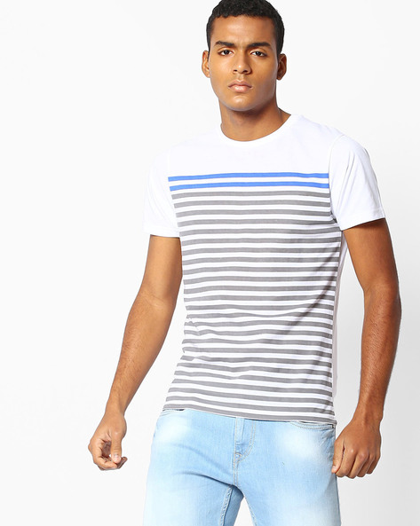 Striped Slim Fit T-Shirt By The Indian Garage Co ( Blue )