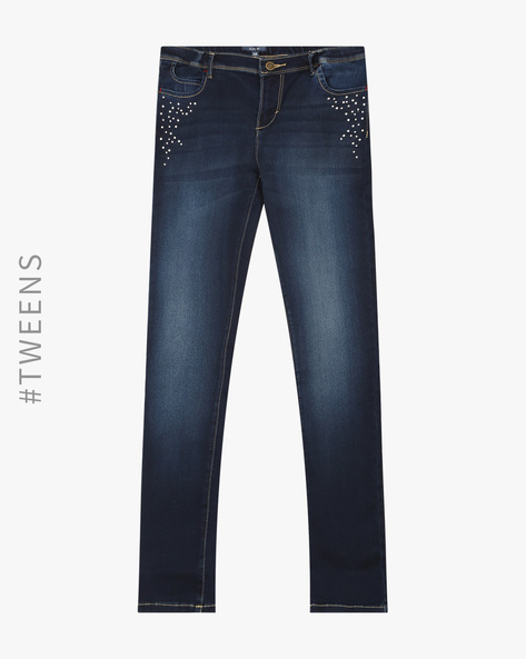 Lightly Washed Jeans With Embellishments By AJIO ( Lightblue )