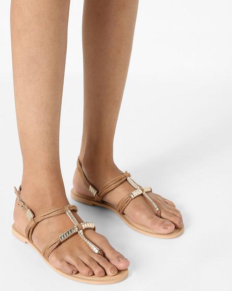 Embellished Flat Sandals By AJIO ( Beige )