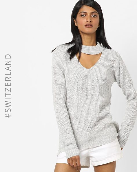 Knitted Pullover With Cut-Out By TALLY WEiJL ( Grey )