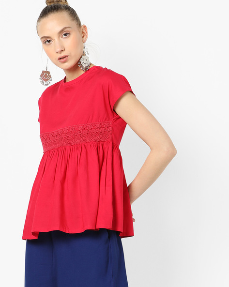 Peplum Top With Floral Lace By AJIO ( Magenta )