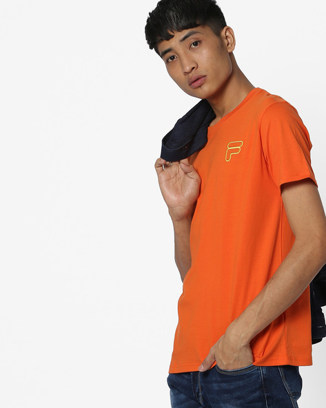 Crew-Neck T-shirt With Applique By FILA ( Orange )