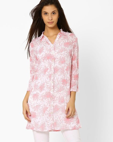 Floral Print Tunic With Collar By And ( Multi )