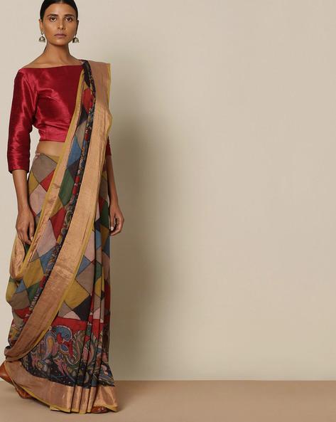 Kalamkari Hand Painted Venkatgiri Cotton Saree By Indie Picks ( Multi )