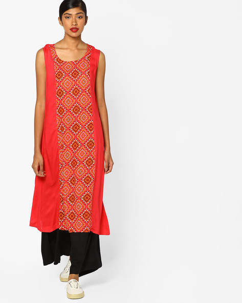 Printed Kurta With Palazzo Pants By AJIO ( Coral )