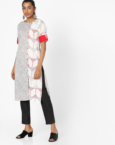 Printed Kurta With Contrast Sleeve Hems By AVAASA WORKWEAR ( Offwhite )
