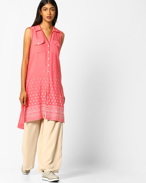 Embroidered Tunic With Flap Pockets By Global Desi ( Coral )