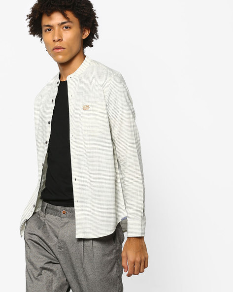 Striped Shirt With Patch Pocket By US POLO ( Ivory )