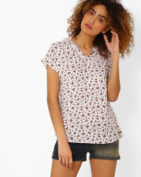 Floral Print Top By DNMX ( White )