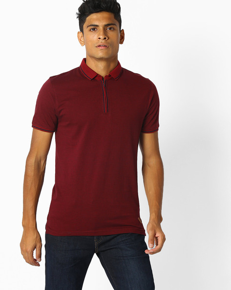 Textured Polo T-shirt With Zip Placket By NETPLAY ( Maroonburg )